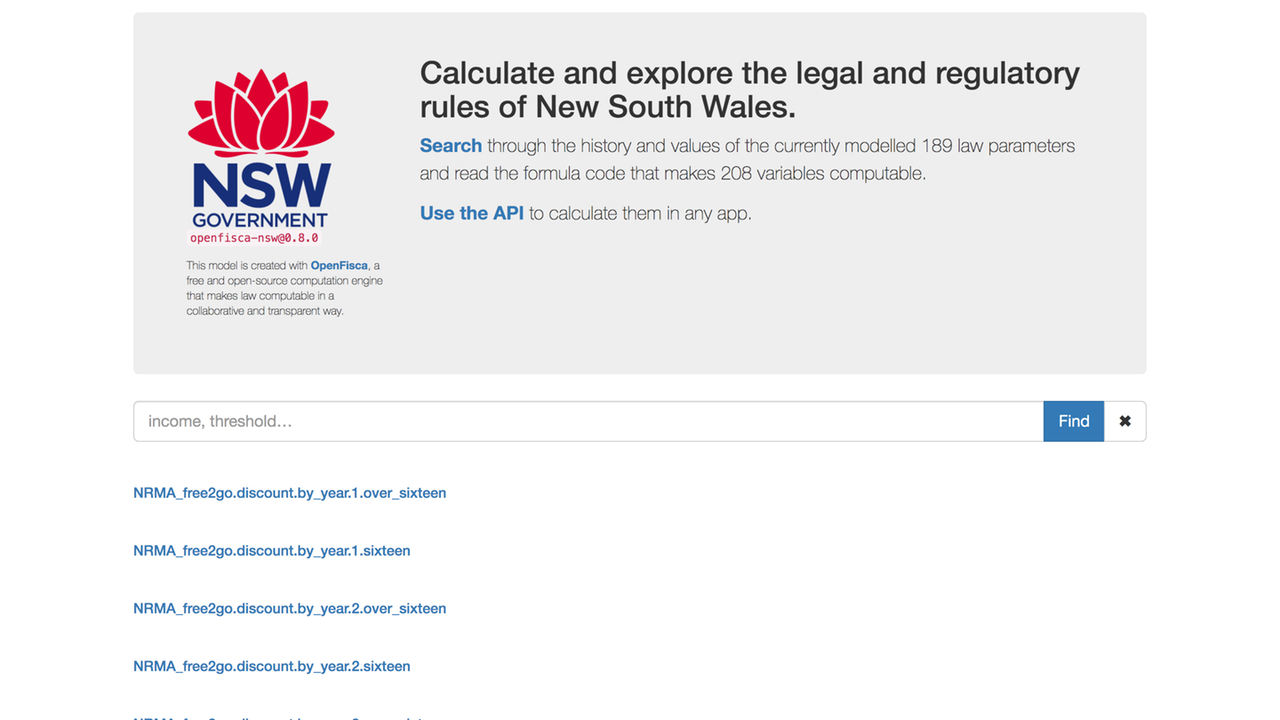 New South Wales's Legislation Explorer